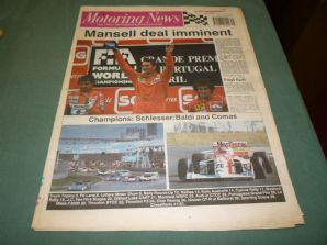 MOTORING NEWS 1990 September 26 Portugal GP, Group C, CART, Cyprus rally